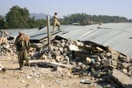 A row of fallen shops in the village of Malot, near Bagh City in Azad Kashmir <b>GOAL/Simon Roughneen</b>