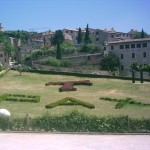 Pax for peace: Gardens at Basilica in Assisi (Simon Roughneen, July 2005)