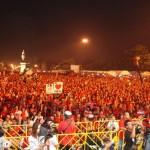 Redshirts rally in Bangkok to mark 3 years since Thaksin was deposed (Photo: Simon Roughneen)