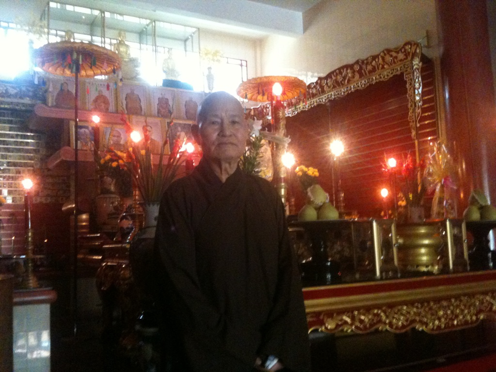 Possiiby Vietnam's best-known political prisoner, monk Thich Quang Do pictured inside the temple at the Thanh Minh Zen monastery in Ho Chi Minh City, here he remains under house arrest (Photo: Simon Roughneen, taken on phone cam, May 2011)