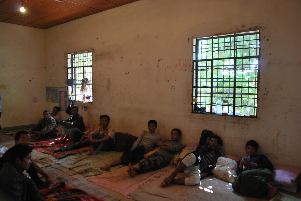 Male detainees at the KIA drug rehabilitation facility in Laiza (Photo: Simon Roughneen)