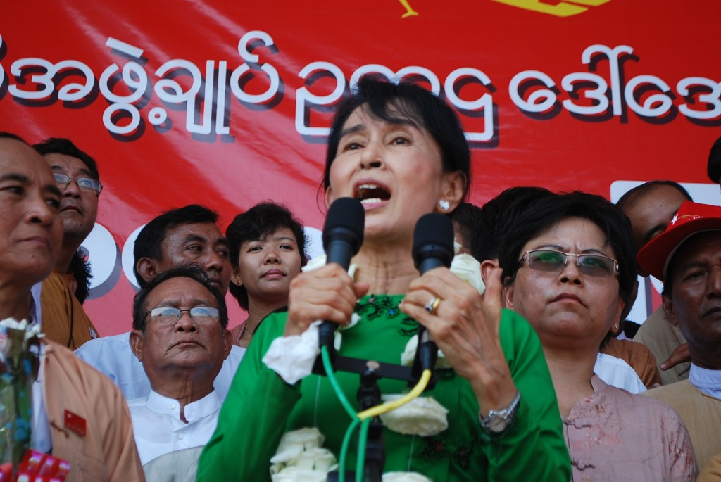 Aung San Suu Kyi speaks in Pathein in the Irrawaddy delta on Feb. 7 2012 (Photo: Simon Roughneen)