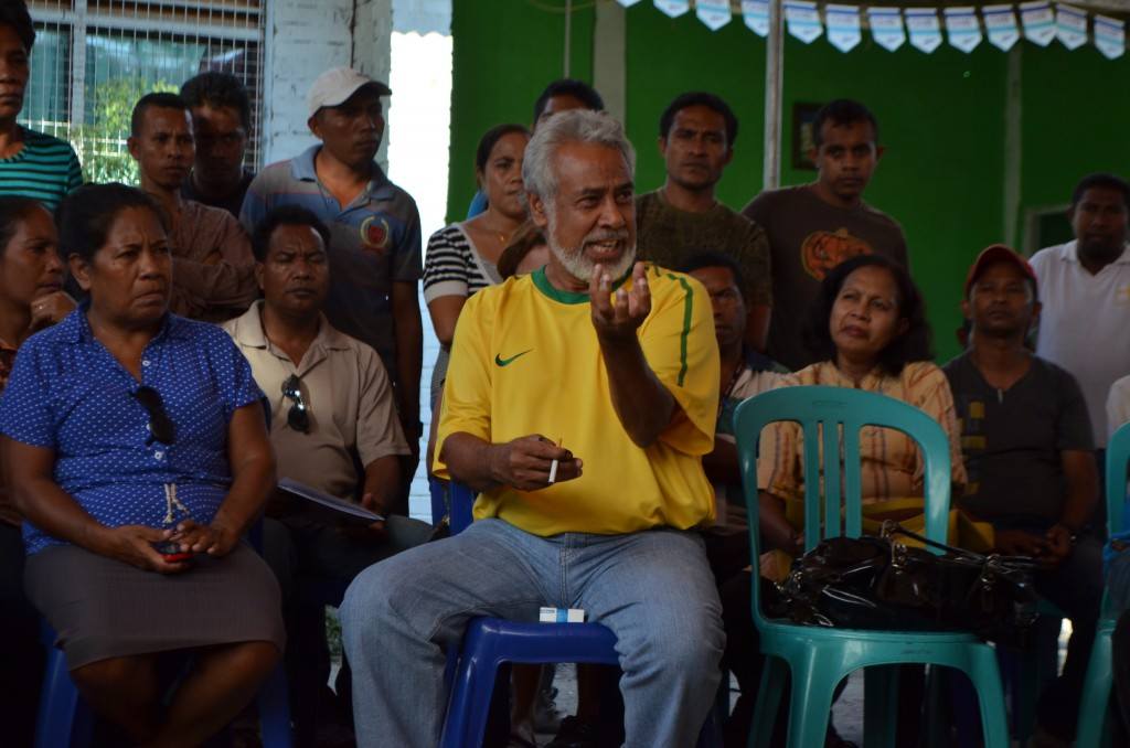 East Timor Xanana Gusmao holds court at CNRT meeting on July 8  2012, after winning parliamentary elections (Photo: Simon Roughneen)