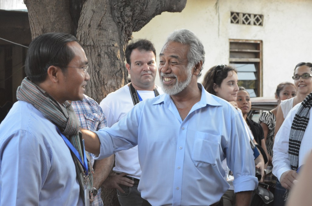 PM Xanana Gusmao before voting on Saturday morning (Photo: Simon Roughneen)