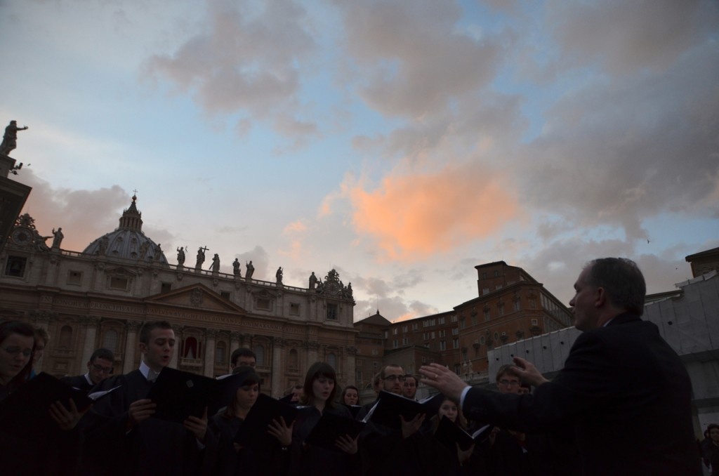 Singing hymns for the conclave: St Peter's Square on Monday evening (Photo: Simon Roughneen)