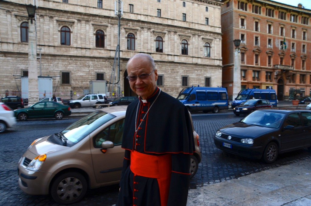 Cardinal John Tong Hon of Hong Kong on his way to St Peter's on Monday morning (Photo: Simon Roughneen)
