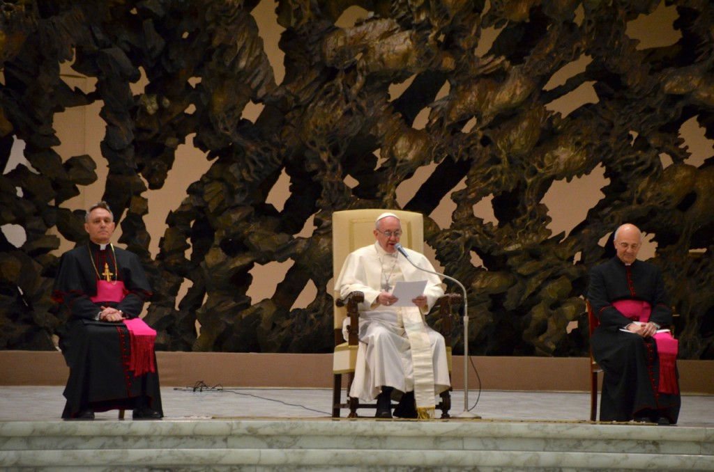 Pope Francis addresses the world's media on Saturday morning Feb. 16 in the Paul VI Hall (Photo: Simon Roughneen)