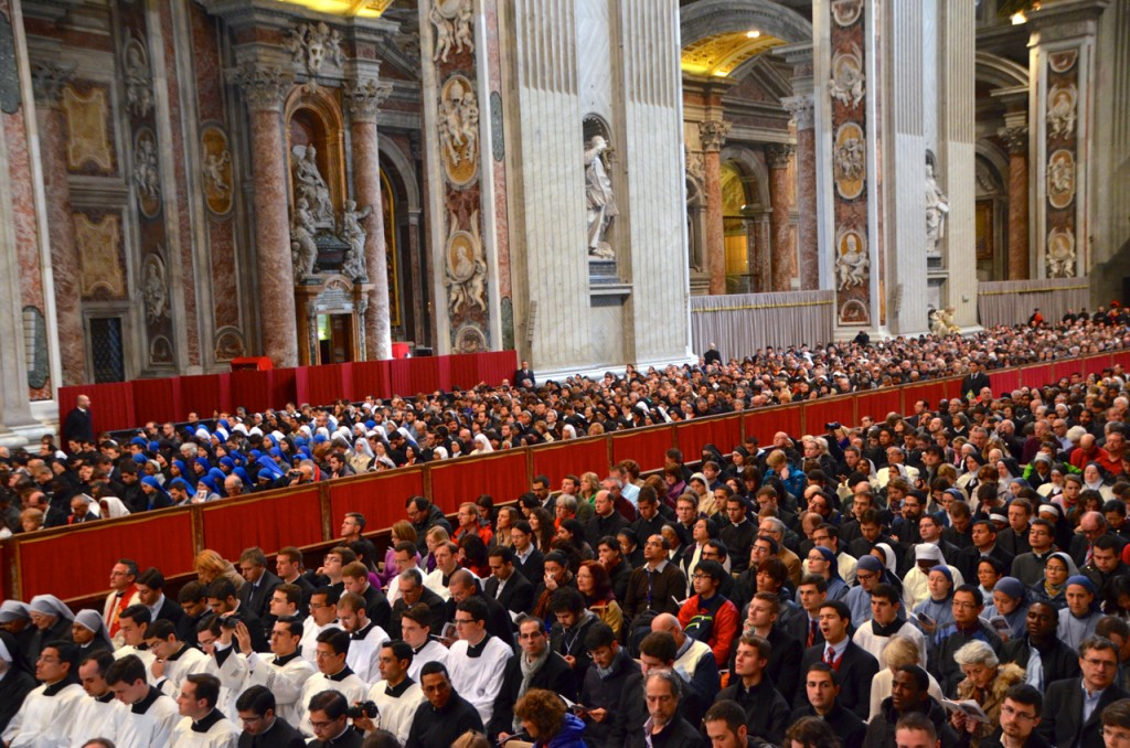 Mass in St Peter's Basilica on Tuesday morning, hours before the cardinal electors head to Sistine Chapel to begin voting on who will be the next Pope (Photo: Simon Roughneen)