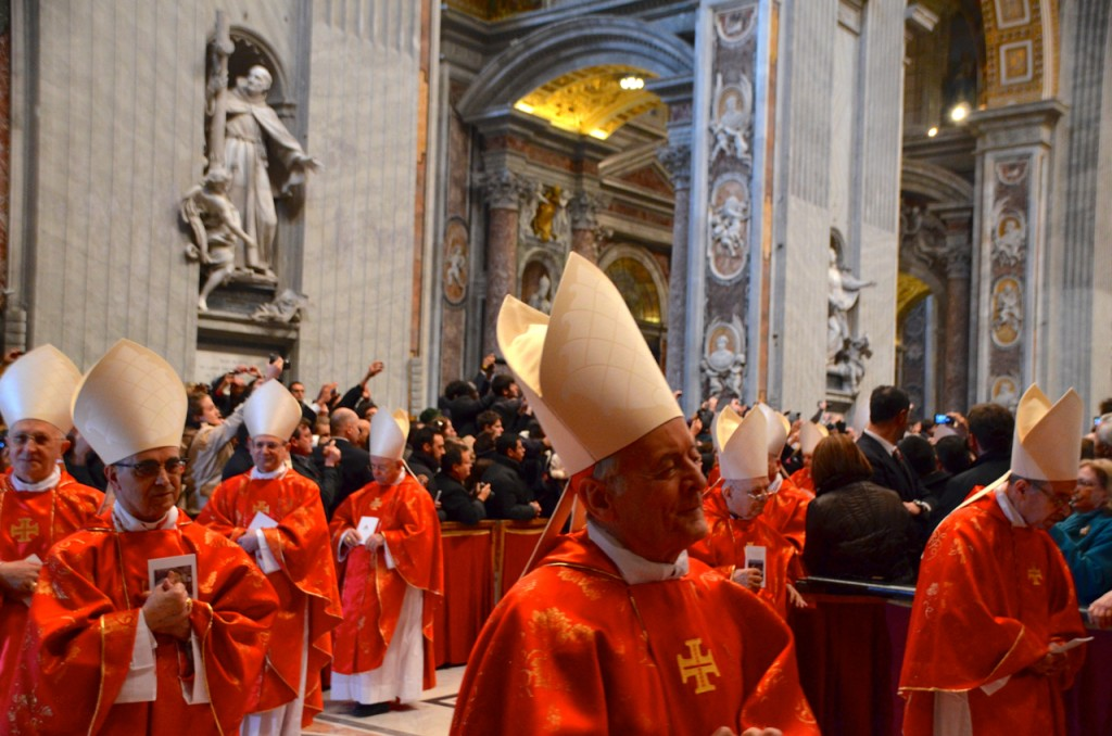 Cardinals exiting the church after Tuesday morning Mass inside St Peter's Basilica (Photo: Simon Roughneen)