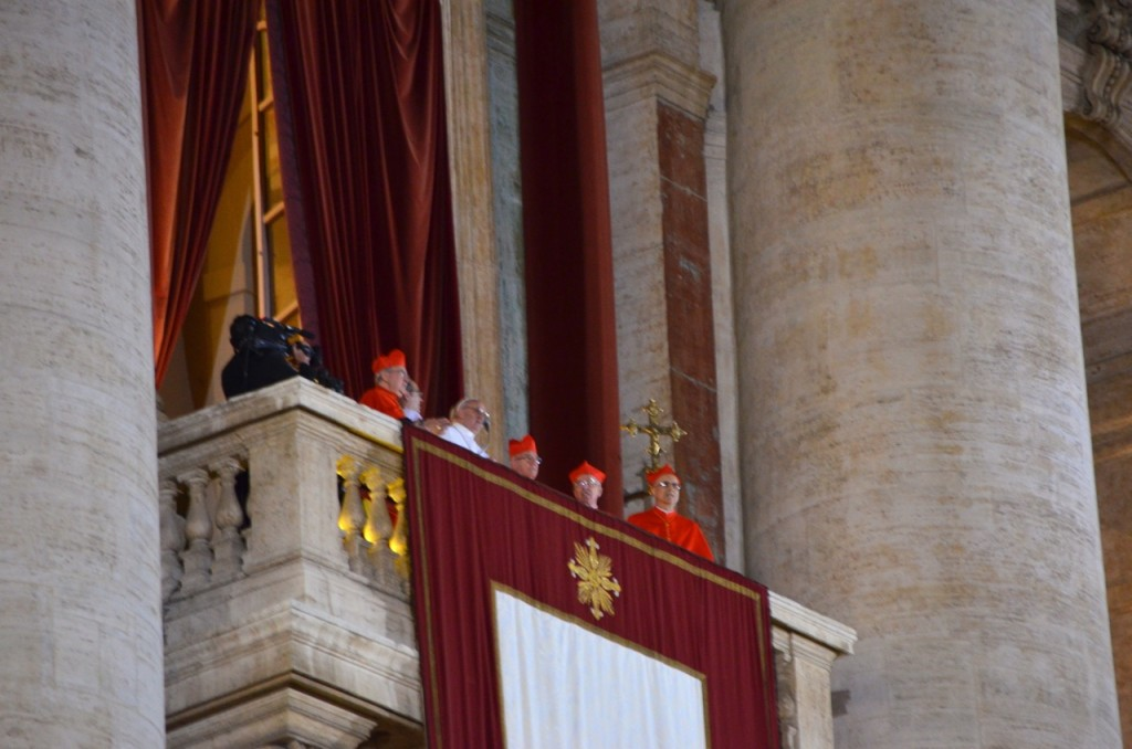 Pope Francis steps out above St Peter's Sq. earlier Wednesday evening (Photo: Simon Roughneen)
