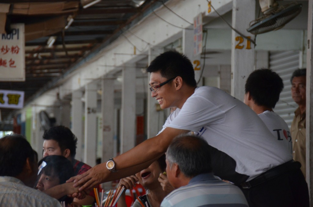 BN candidate Daniel Wa campaigning in Kampar the day before voting (Photo: Simon Roughneen)