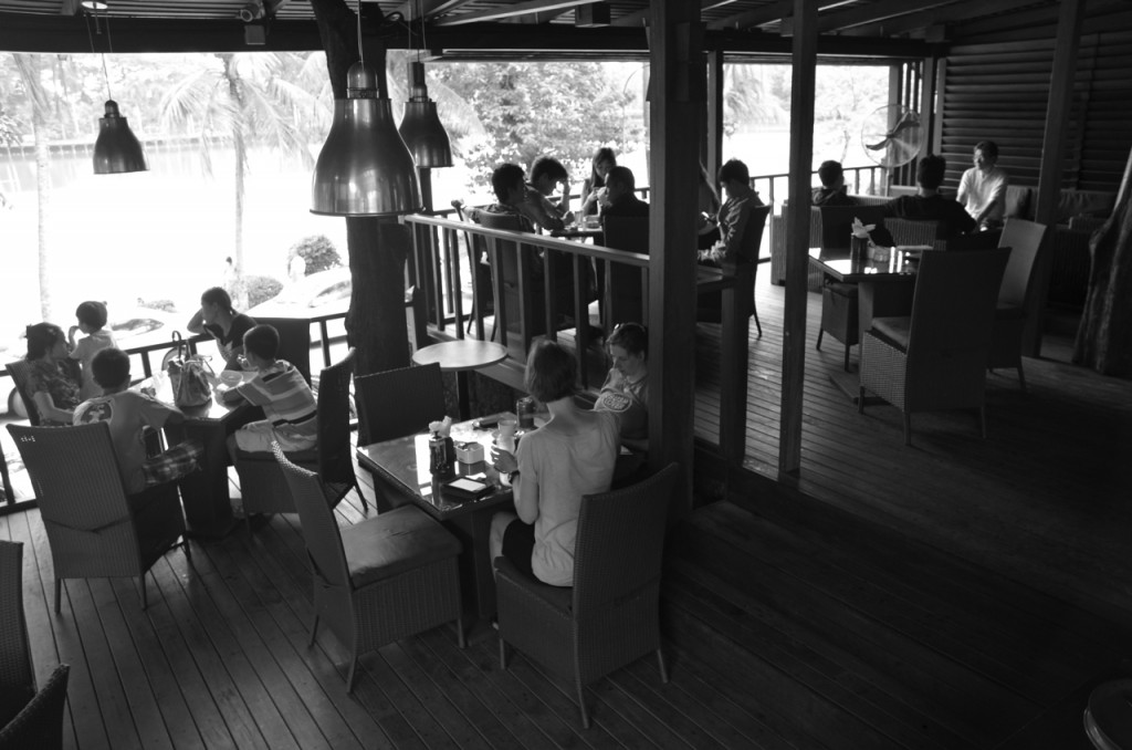 Inside Nervin's Cafe at Rangoon's Kandawgyi Lake (Photo: Simon Roughneen)