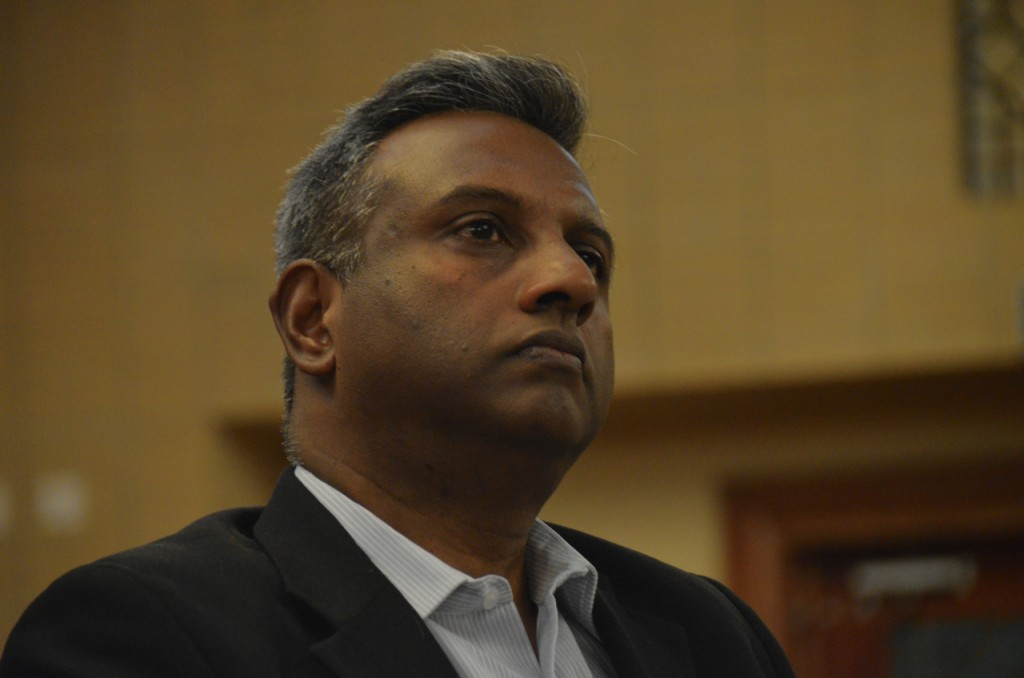 Salil Shetty, secretary-general of Amnesty International, participates in a panel discussion on Burma's business future at the recent World Economic Forum in Naypyidaw. (Photo: Simon Roughneen / The Irrawaddy)