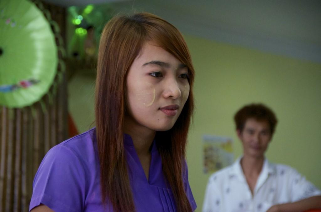 Waitress at work in Burmese restaurant in Kuala Lumpur (Photo: Simon Roughneen)