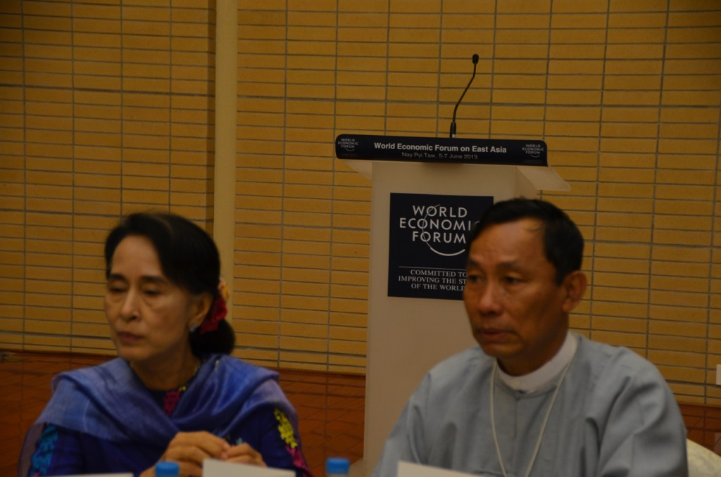 Aung San Suu Kyi and Shwe Mann at the WEF in Naypyidaw today (Photo: Simon Roughneen)