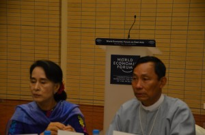 Candidates: Aung San Suu Kyi and Shwe Mann at the WEF in Naypyidaw, June 2013. (Photo: Simon Roughneen)