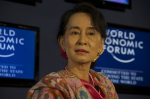 Aung San Suu Kyi speaking at June 2013 World Economic Forum debate in Naypyidaw (Photo: Simon Roughneen)