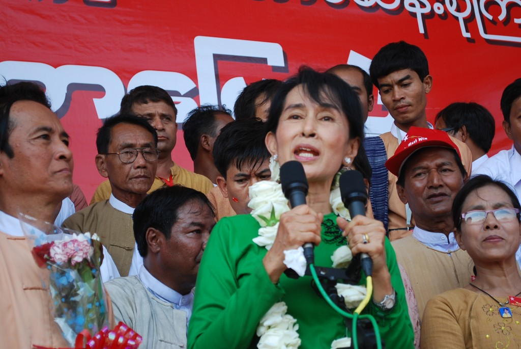 Aung San Suu Kyi addresses rally in Pathein, Burma in Feb. 2012 (Photo: Simon Roughneen
