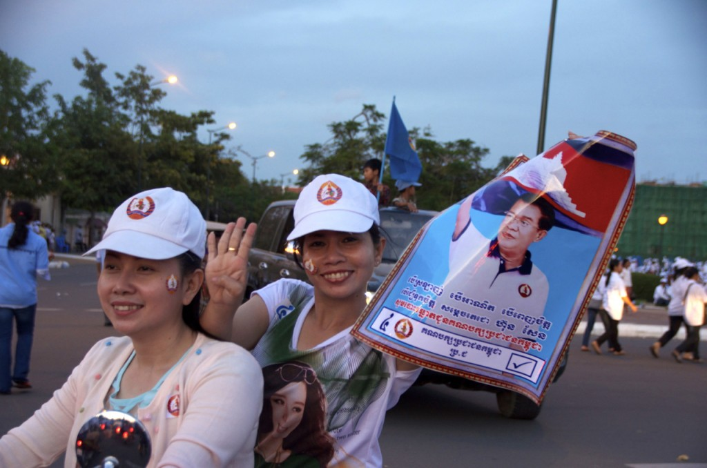 Supporters of the governing CPP in Phnom Penh on Friday (Photo: Simon Roughneen)