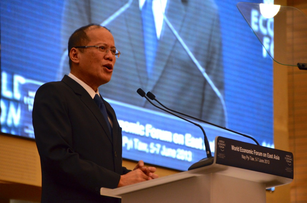 Philippine President Benigno Aquino III speaks at the World Economic Forum held in Burma in June 2013 (Photo: Simon Roughneen)