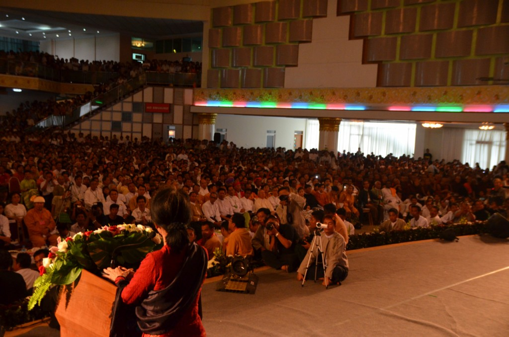 Aung San Suu Kyi addresses crowd at 1988 uprising commemoration in Rangoon August  8 2013 (Photo: Simon Roughneen)