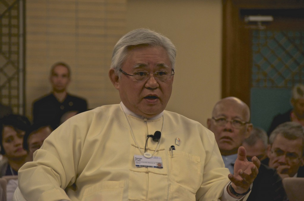 Serge Pun at World Economic Forum in Naypyidaw in June (Photo: Simon Roughneen)