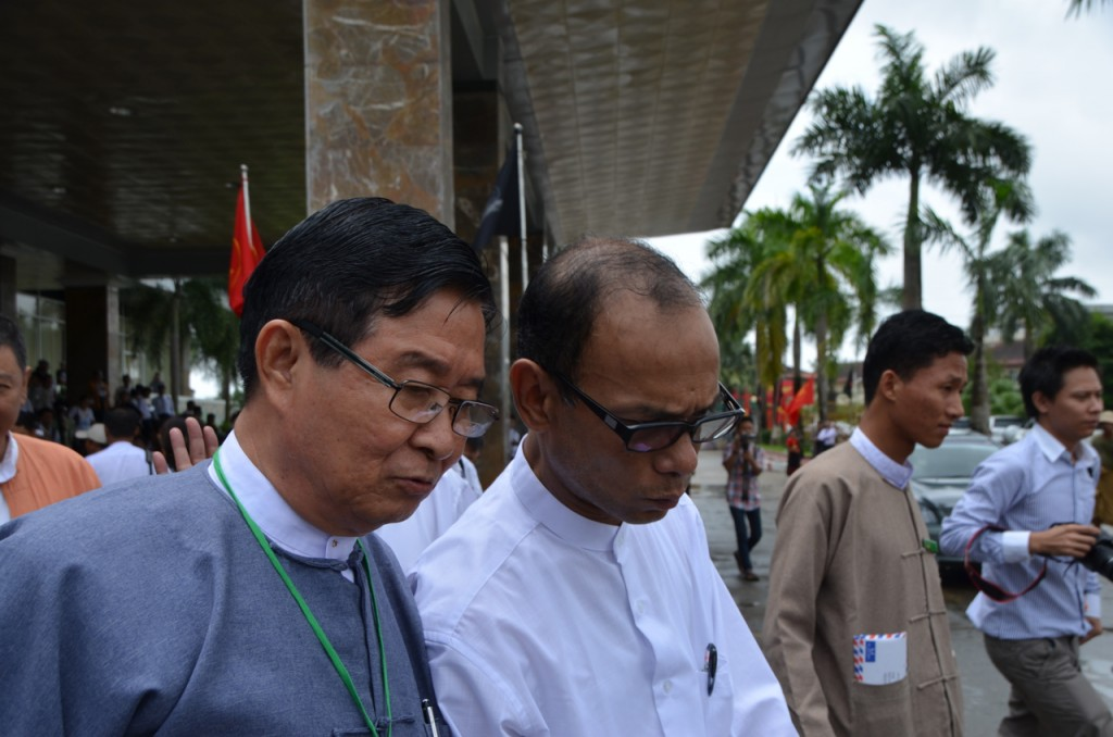 Mya Aye, an 88 Generation leader and Minister Aung Min together at 25th anniversary commemoration of 1988 student uprising in Rangoon on Wednesday (Photo: Simon Roughneen