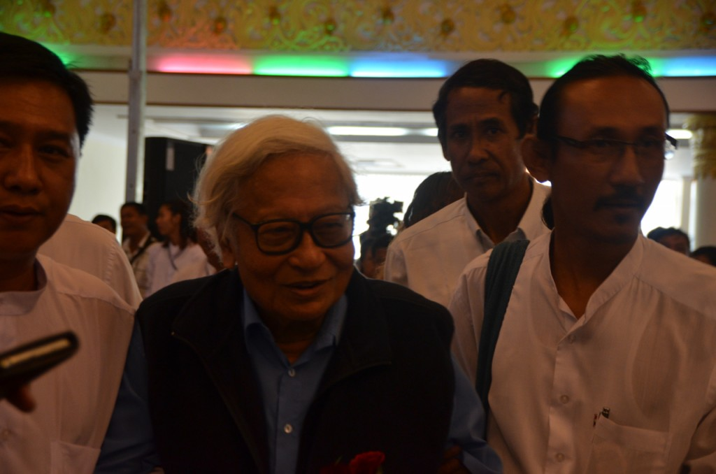 Win Tin, senior figure in the opposition National League for Democracy and former political prisoner, arrives at the anniversary event (Photo: Simon Roughneen)