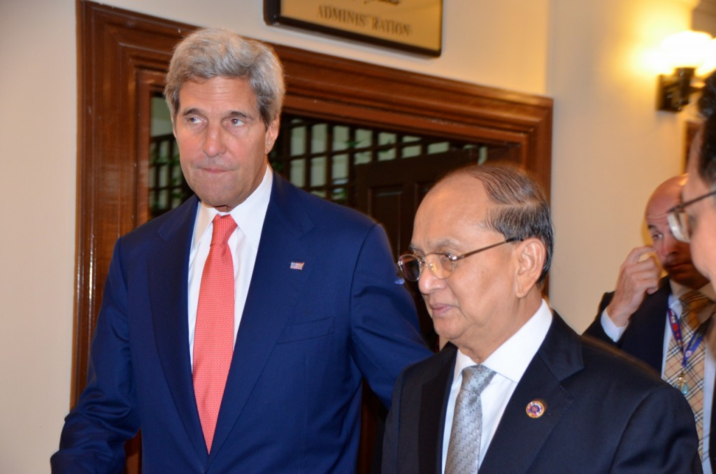 US Sec. of State John Kerry and Burma President Thein Sein after their bilateral meeting in Brunei earlier Thursday. (Photo: Simon Roughneen / The Irrawaddy)