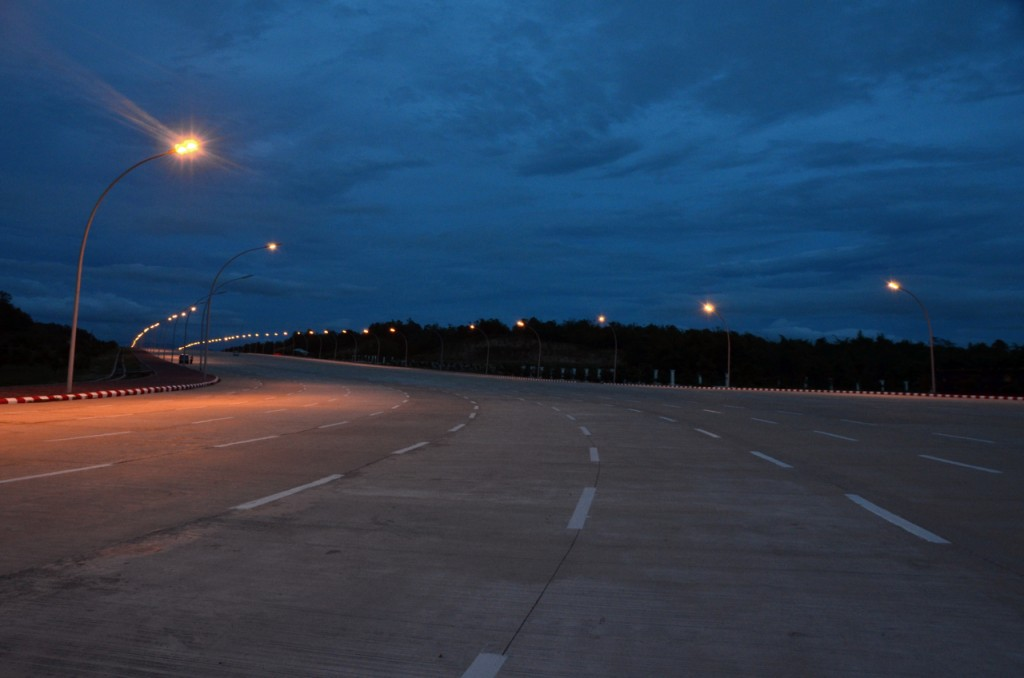 The highway outside Naypyidaw's parliament, pictured at rush hour (Photo: Simon Roughneen