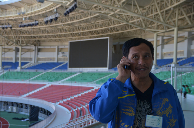 Myat Thura Soe of the Myanmar Olympic Committte pictured inside the Wunna Theikdi Stadium in Naypyidaw (Photo: Simon Roughneen)
