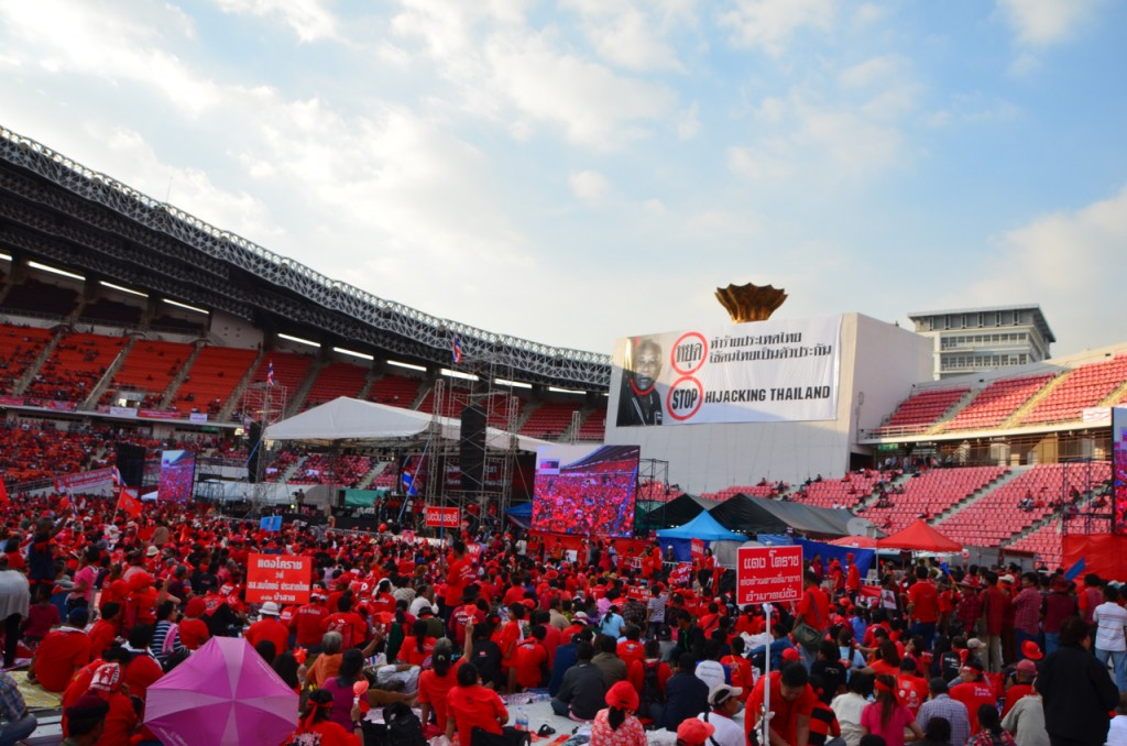 Early Saturday evening at pro-government redshirt rally in Bangkok (Photo: Simon Roughneen)