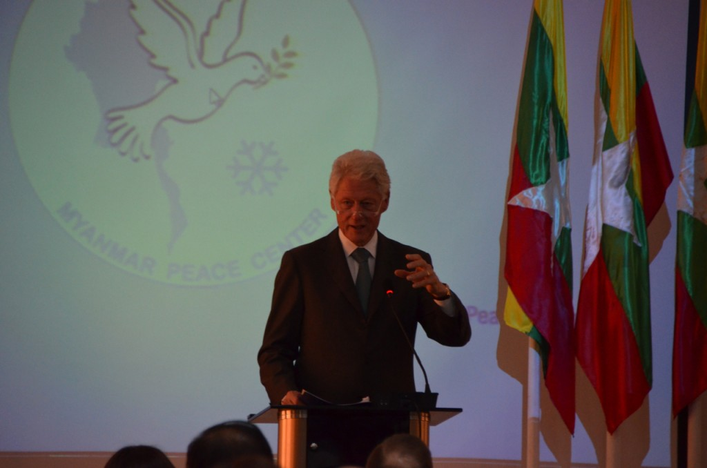Bill Clinton speaks at the Myanmar Peace Centre in Rangoon on Nov, 14 2013 (Photo: Simon Roughneen)