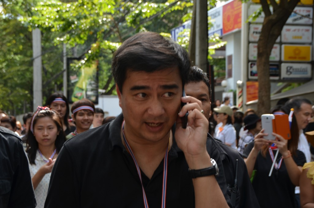 Former Thai PM Abhisit Vejajiva at protest rally outside US Embassy in Bangkok on Friday Nov 29 (Photo: Simon Roughneen)