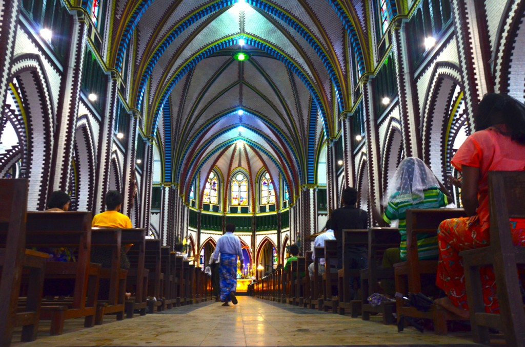 Inside St Mary's Cathedral in Yangon (Photo: Simon Roughneen)