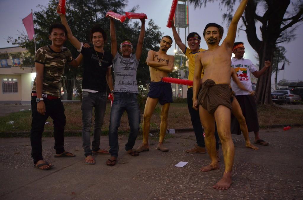 Burmese fans outside the Thuwanna Stadium before kick-off (Photo: Simon Roughneen)