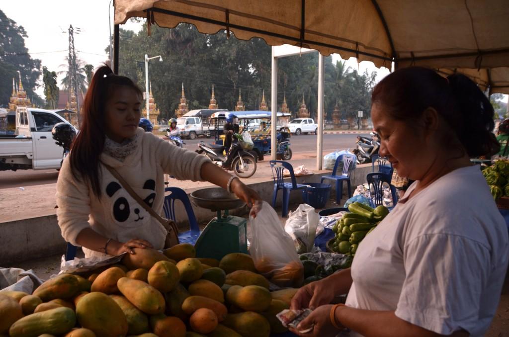 Trader Sengphachan Phommaxay and customer Sonethong Syhalath cut a deal at That Luang organic market (Photo: Simon Roughneen)