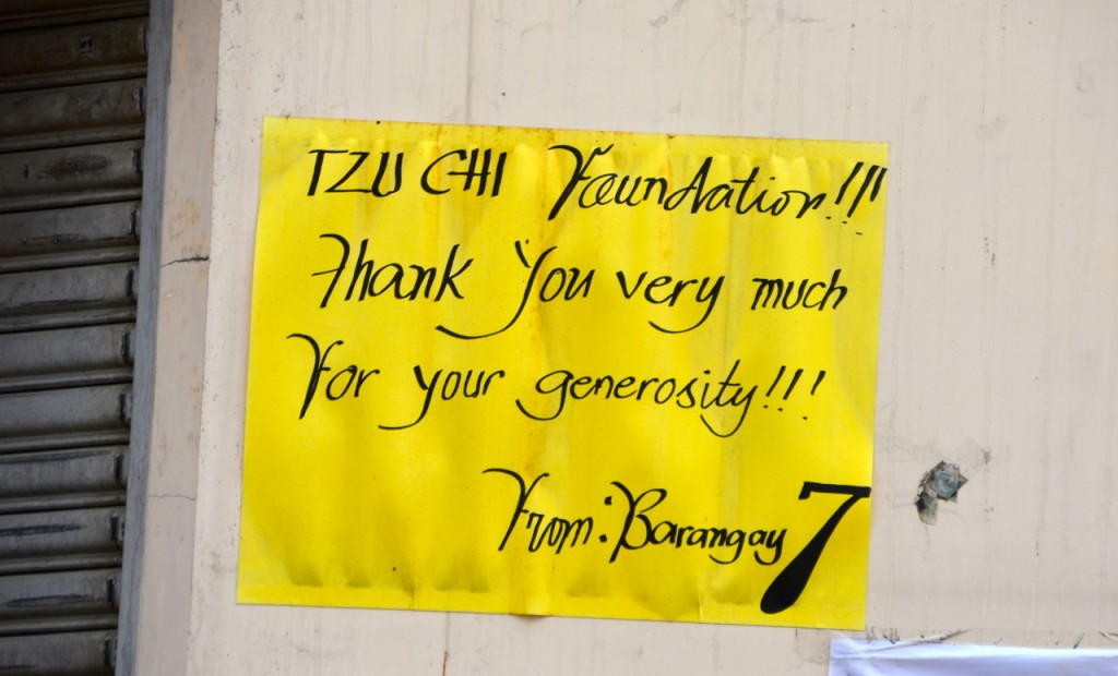 One of many signs around Tacloban thanking the Tzu Chi Foundation (Photo: Simon Roughneen)