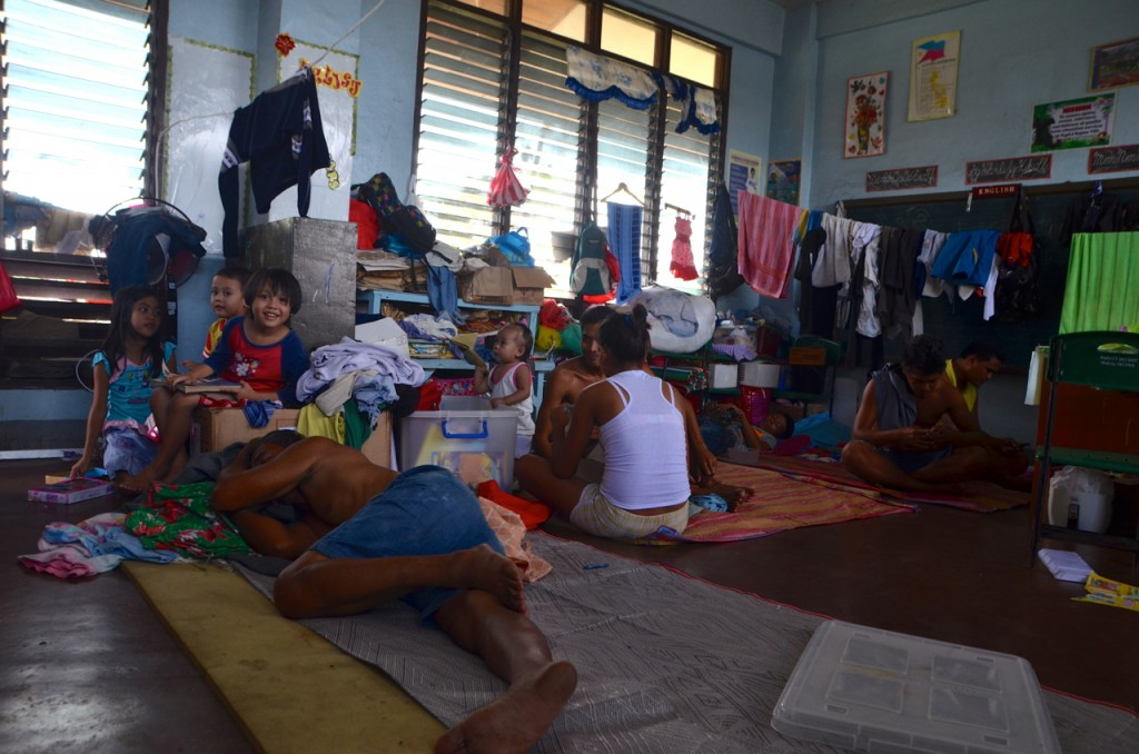 Upstairs classroom where Julita Cordero and family have stayed since Typhoon Yolanda (PhotoL Simon Roughneen)