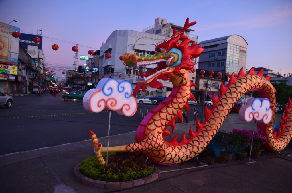 Ready for Lunar New Year: Surat Thani downtown (Photo: Simon Roughneen)