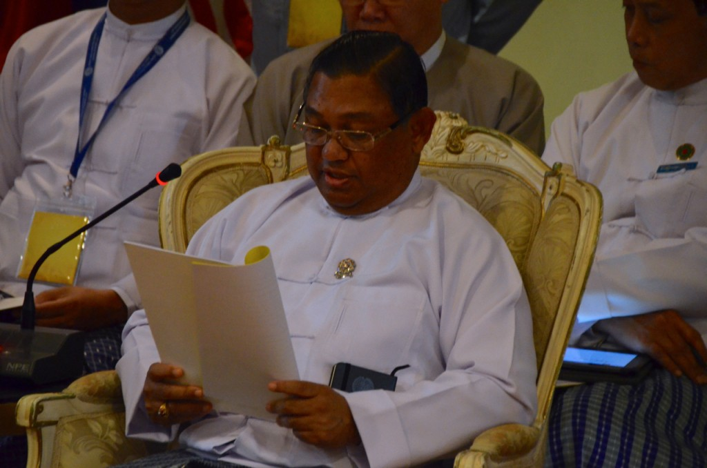 Myanmar foreign min. Wunna Maung Lwin reads statement to other ministers in Bagan last week (Photo: Simon Roughneen)