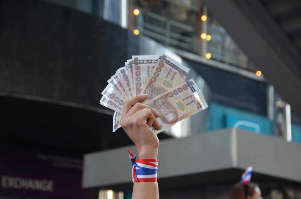 Donation at the ready at Bangkok's Ratchaprasong intersection on Monday afternoon (Photo: Simon Roughneen)