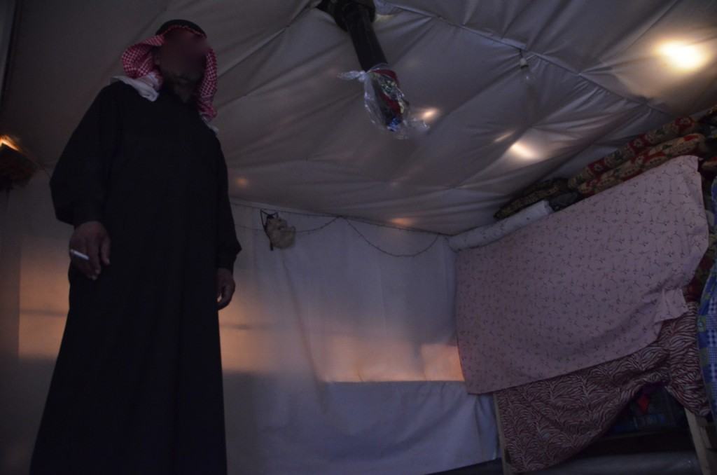 Inside Yassir Shebat's tent (Photo: Simon Roughneen)