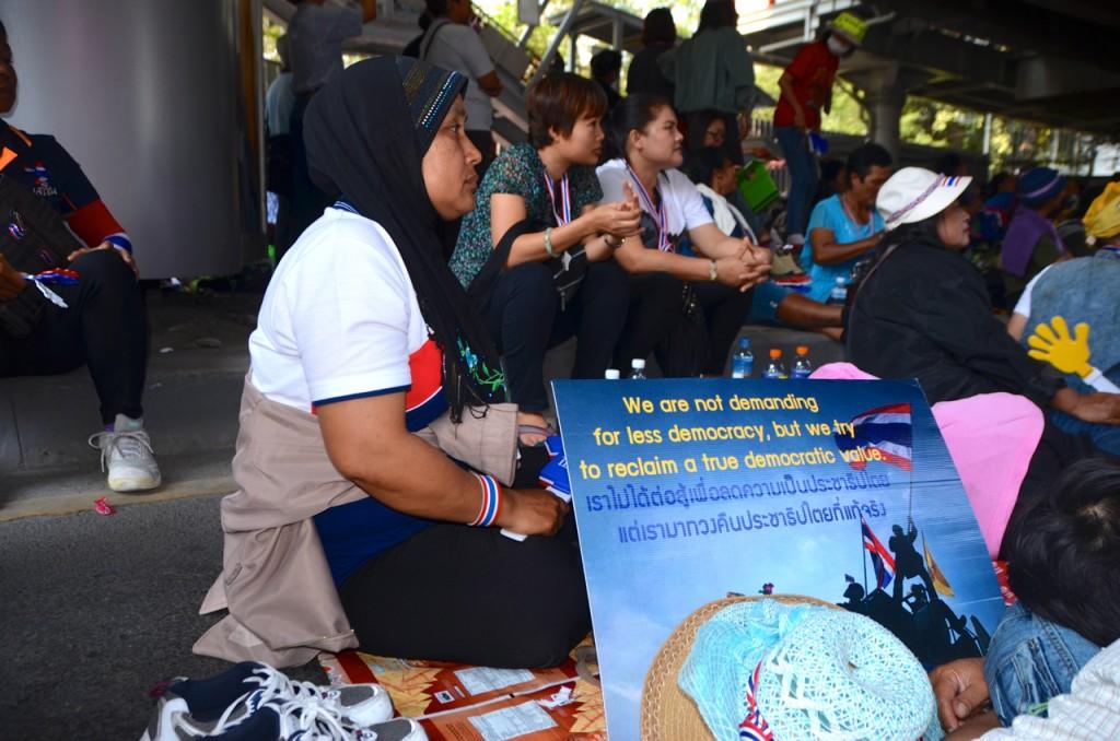 Anti-government protestors at Phaya Thai, Bangkok, on Feb. 2 (Photo: Simon Roughneen