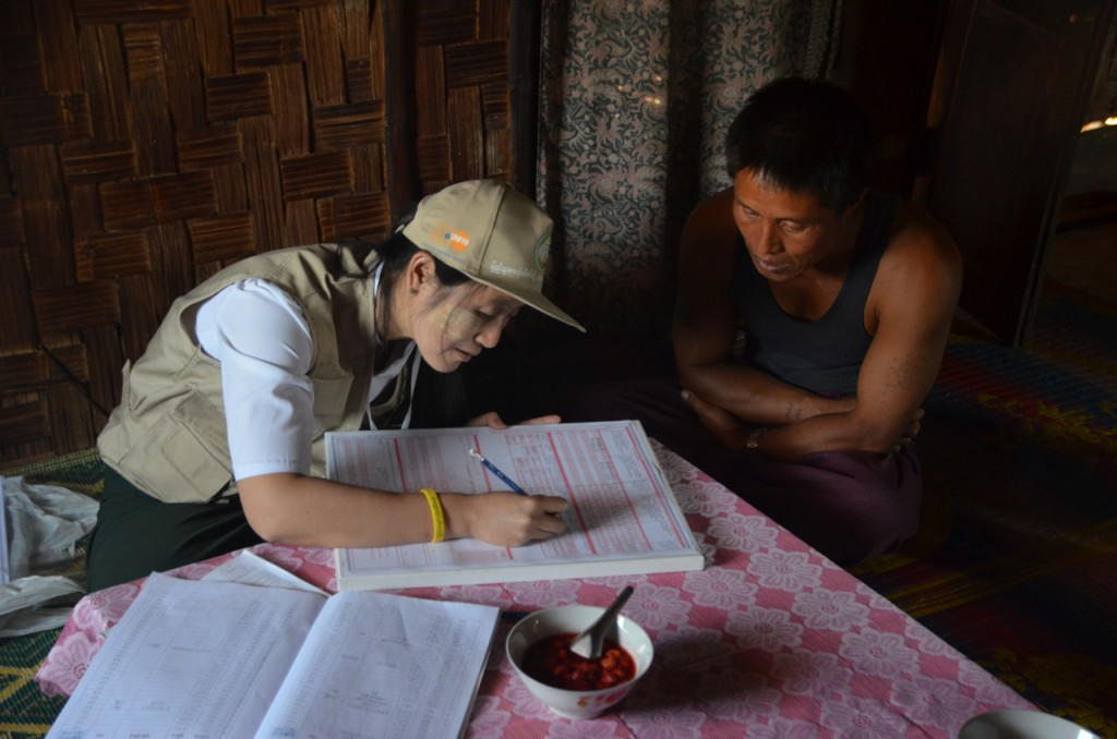 Census taking in Pa-O village in Shan State (Photo: Simon Roughneen)