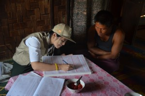 Census taking in Pa-O village in Shan State in April  (Photo: Simon Roughneen)
