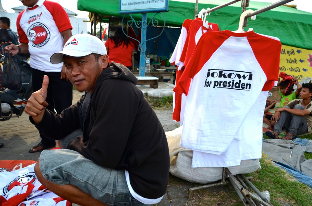 In Solo, a street vendor peddles tshirts proclaiming Jokowi's candidacy for President