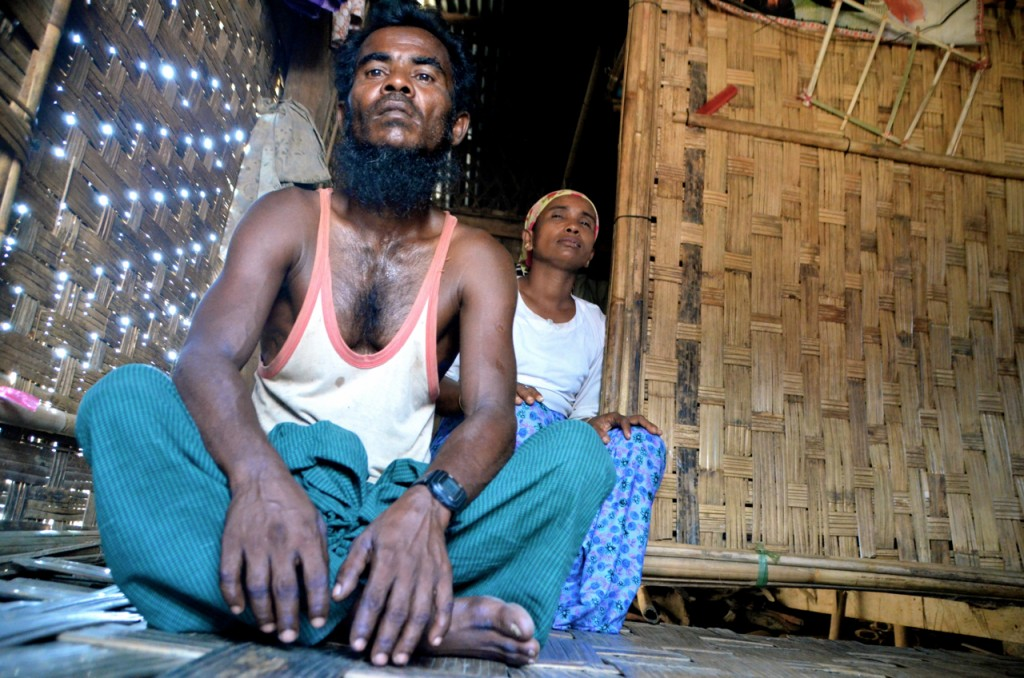 Rohingya IDP Mohammed Isse and wife at their shack in Dar Paing camp (Photo: Simon Roughneen)