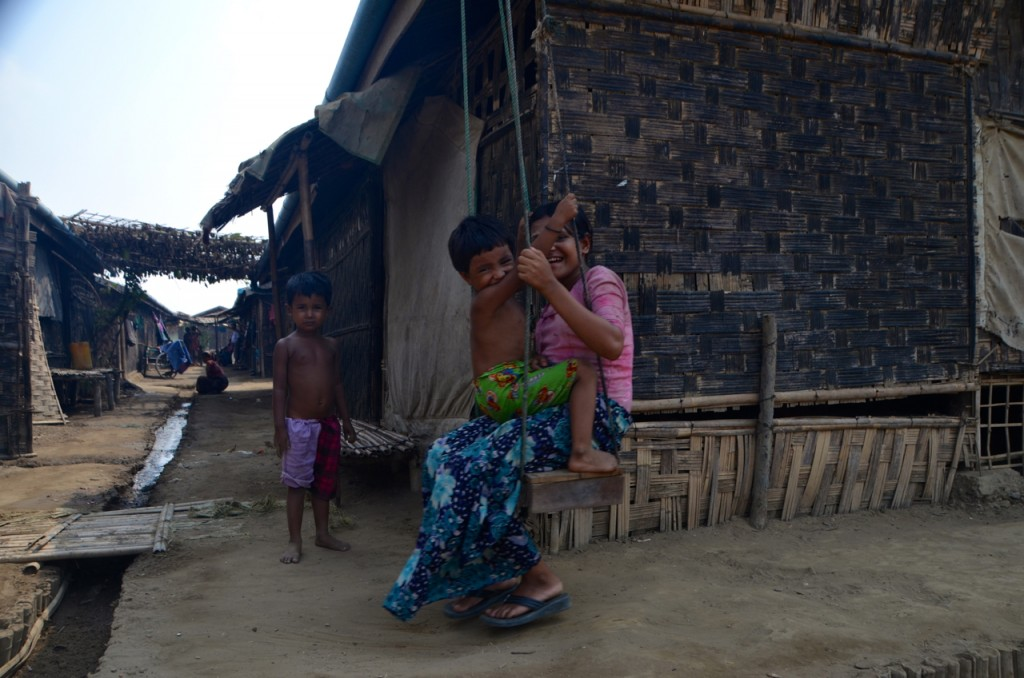 Rohingya children play inside Dar Paing camp near Sittwe (Photo: Simon Roughneen)