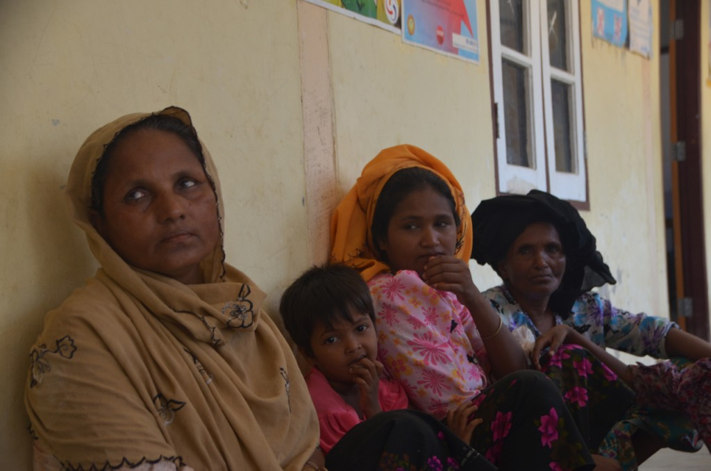 Rohingya women at Thay Chaung clinic outside Sittwe (Photo: Simon Roughneen)